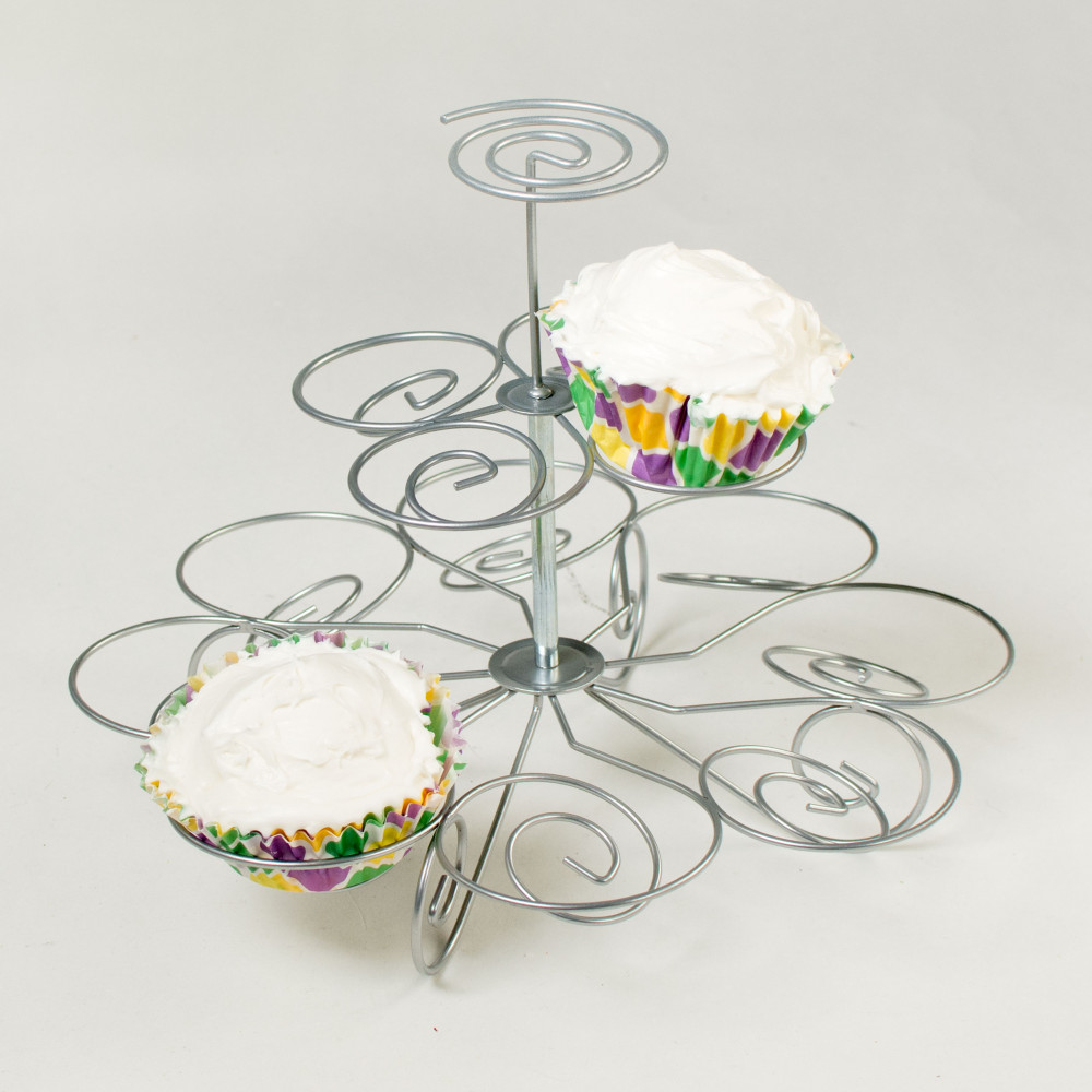 Wire Spiral Cupcake Stand: 3 Tier (Holds 13) [7017-SILVER ...