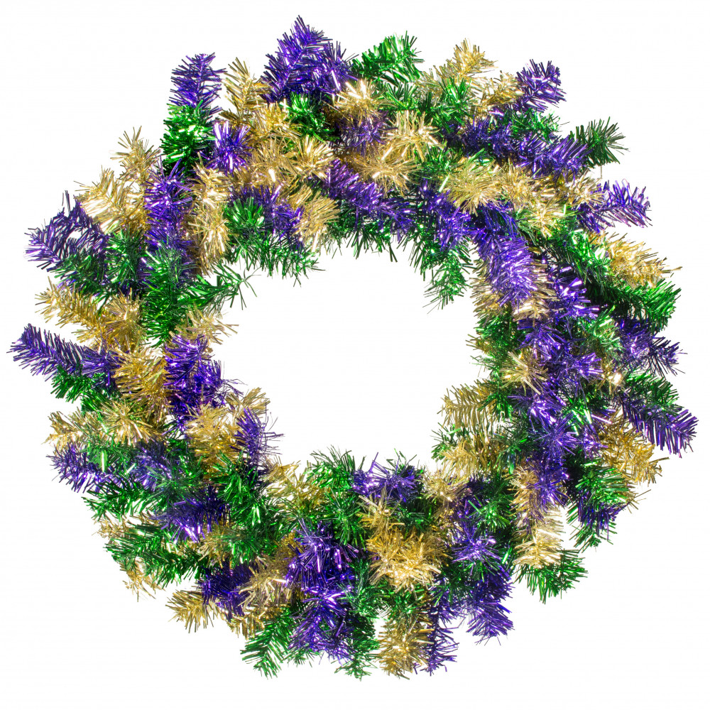 Quot tinsel wreath purple green gold xx