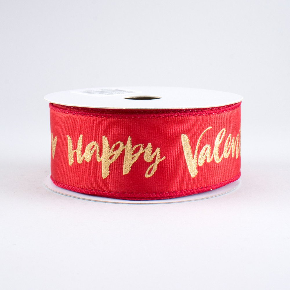 1 5 Happy Valentine S Day Ribbon Gold Red 10 Yards Q810109 15