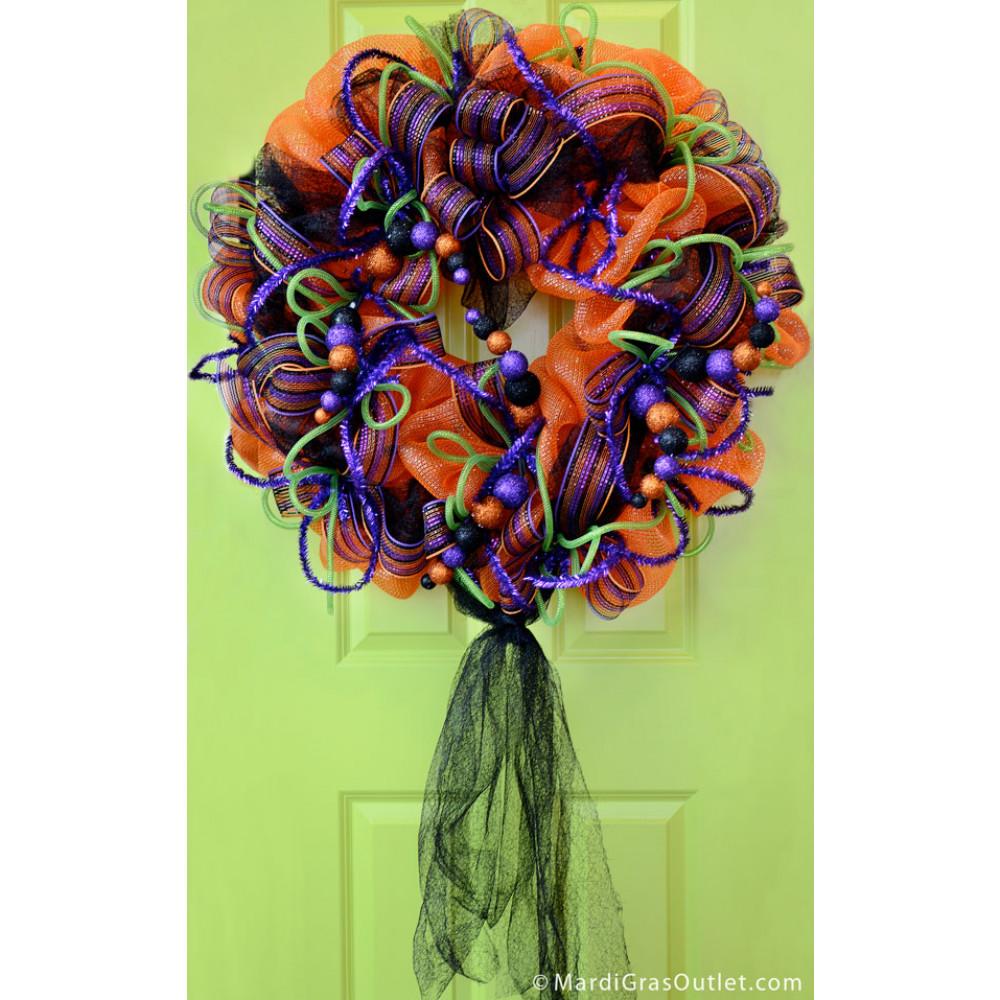 "24"" Halloween Glitter Ball Spray: Orange, Black & Purple ..."