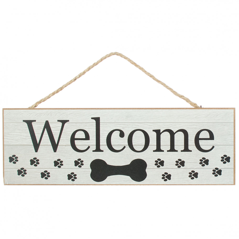15 Wooden Sign Welcome Dog Bone