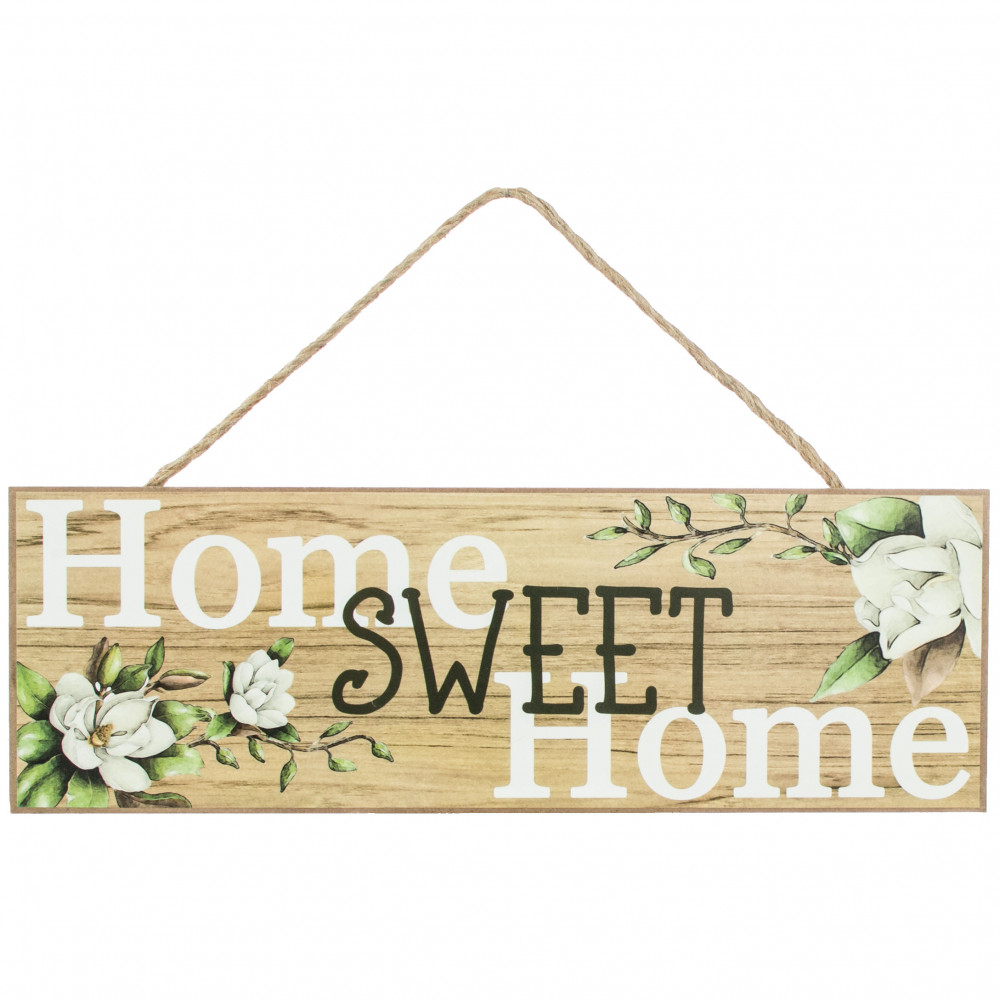 "15"" Wooden Sign: Home Sweet Home Magnolias [AP8064 ..."