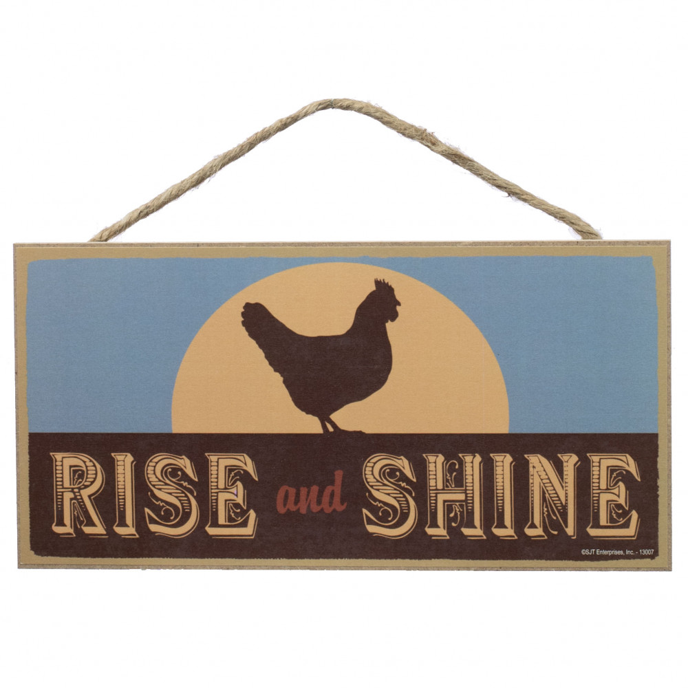 10 wooden sign rise and shine rooster 13007. Black Bedroom Furniture Sets. Home Design Ideas