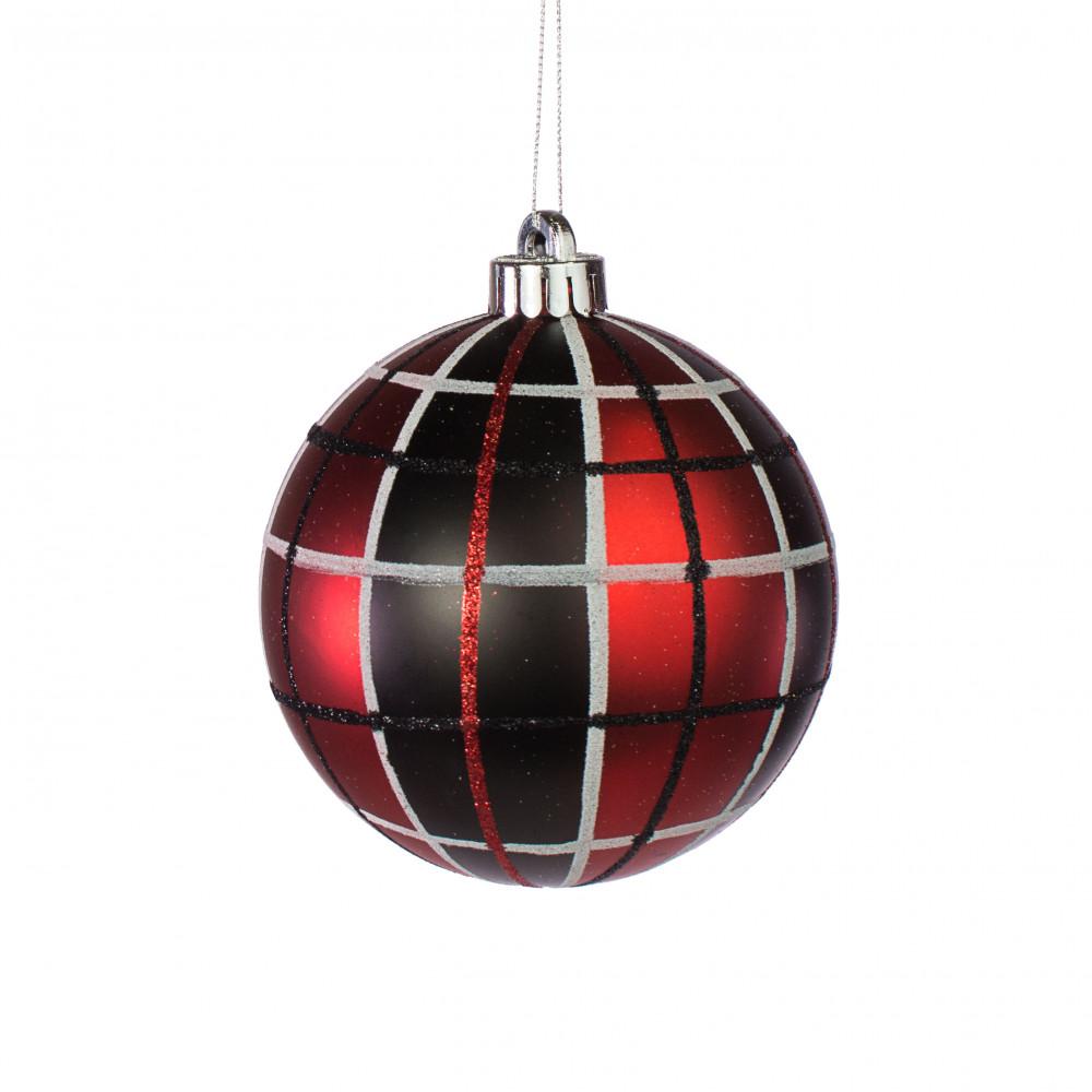 Black Christmas Balls.120mm Plaid Ball Ornament Red Black White