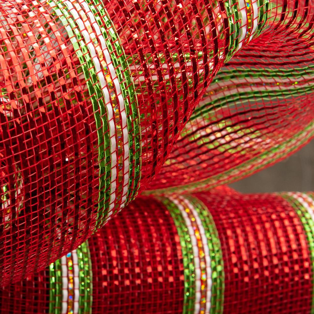 "Christmas 21"" Red Gold Green Decomesh Metallic Foil Mesh 10 Yards"