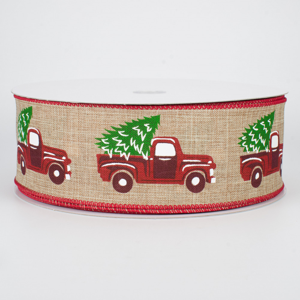 2.5 x 10 Yards Light Natural Christmas Vintage Truck Wired Edge Ribbon