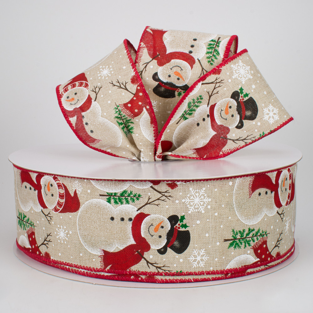 50 Yards 2.5 Christmas Snowman wired Ribbon
