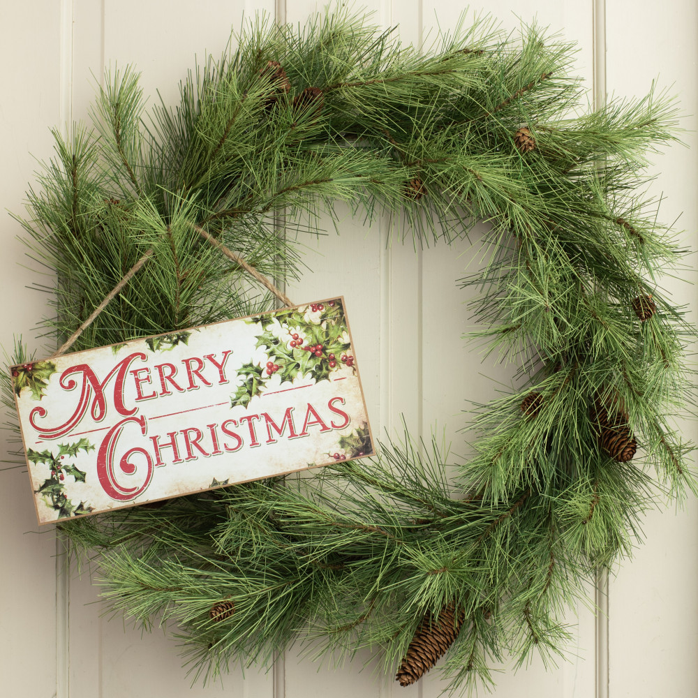 Christmas With Holly.12 Wooden Sign Merry Christmas With Holly