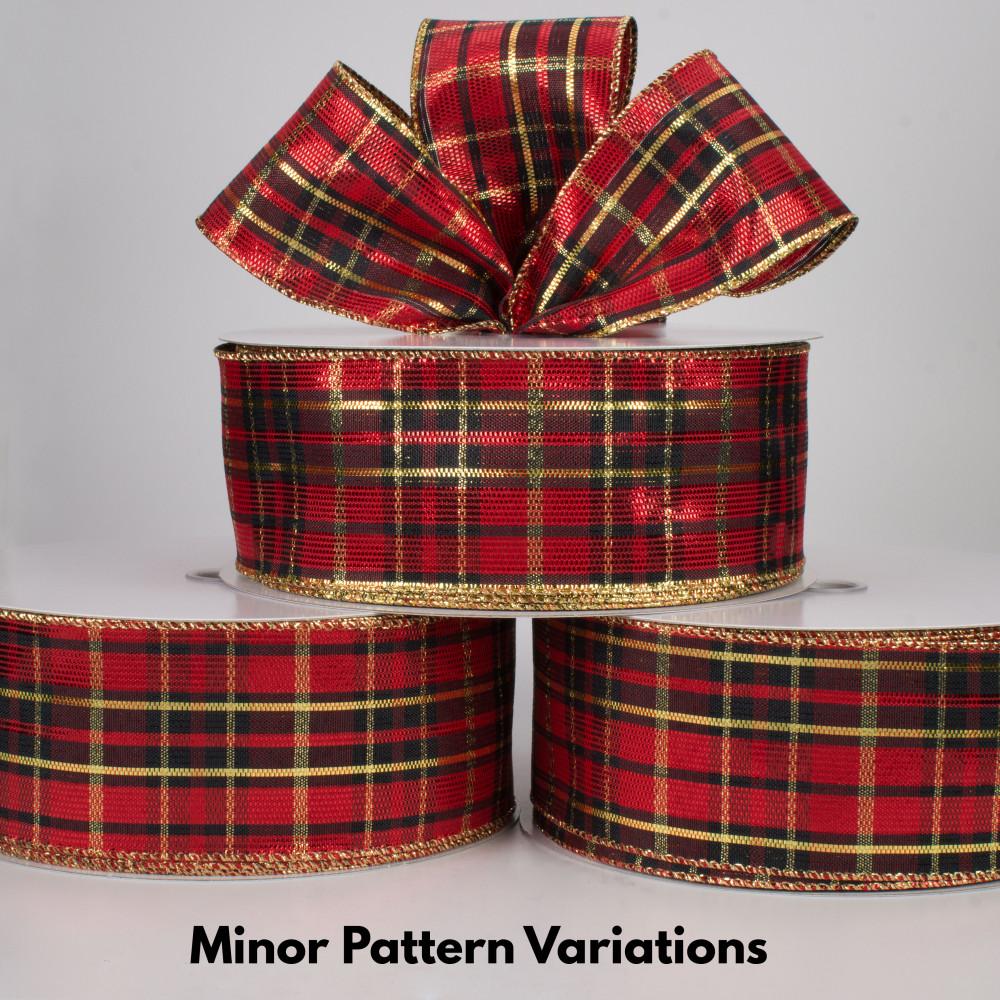 "Red Black Gold Metallic- 5 Yards 2.5/"" Nutcracker Tartan Plaid Wired Ribbon"
