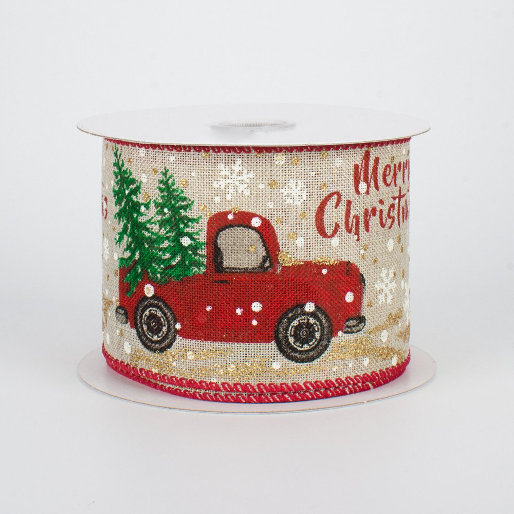 Christmas Red Truck.2 5 Glittered Christmas Red Truck Ribbon 10 Yards