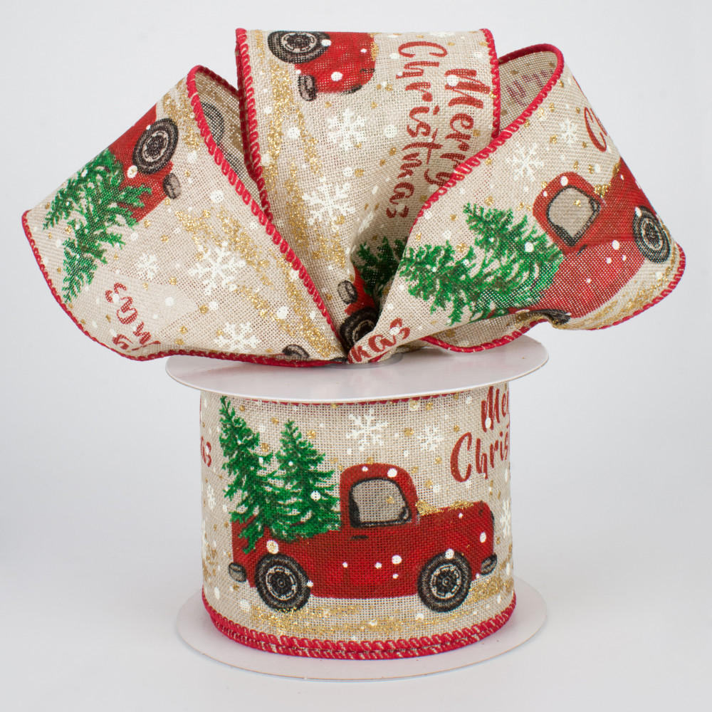 truck with trees ribbon Christmas Red Truck ribbon red truck in snow ribbon Christmas Rustic Truck ribbon Christmas gift wagon ribbon