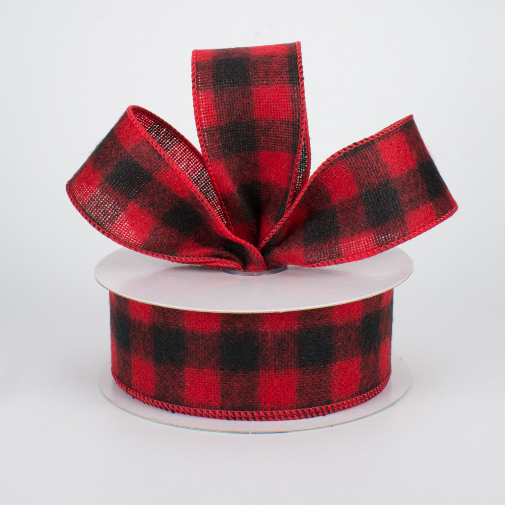 LUTER 236 by 2.5 Inch Red and Black Plaid Burlap Ribbon Buffalo Plaid Ribbon Wired Ribbon Wrapping Ribbon Christmas Ornaments for Merry Xmas Wedding Festive Home Decorations
