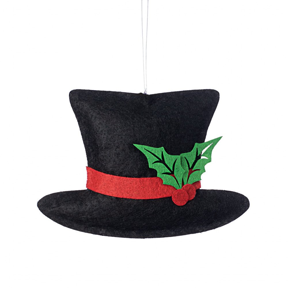 "8"" Felt Snowman Top Hat Ornament [XN5867]"