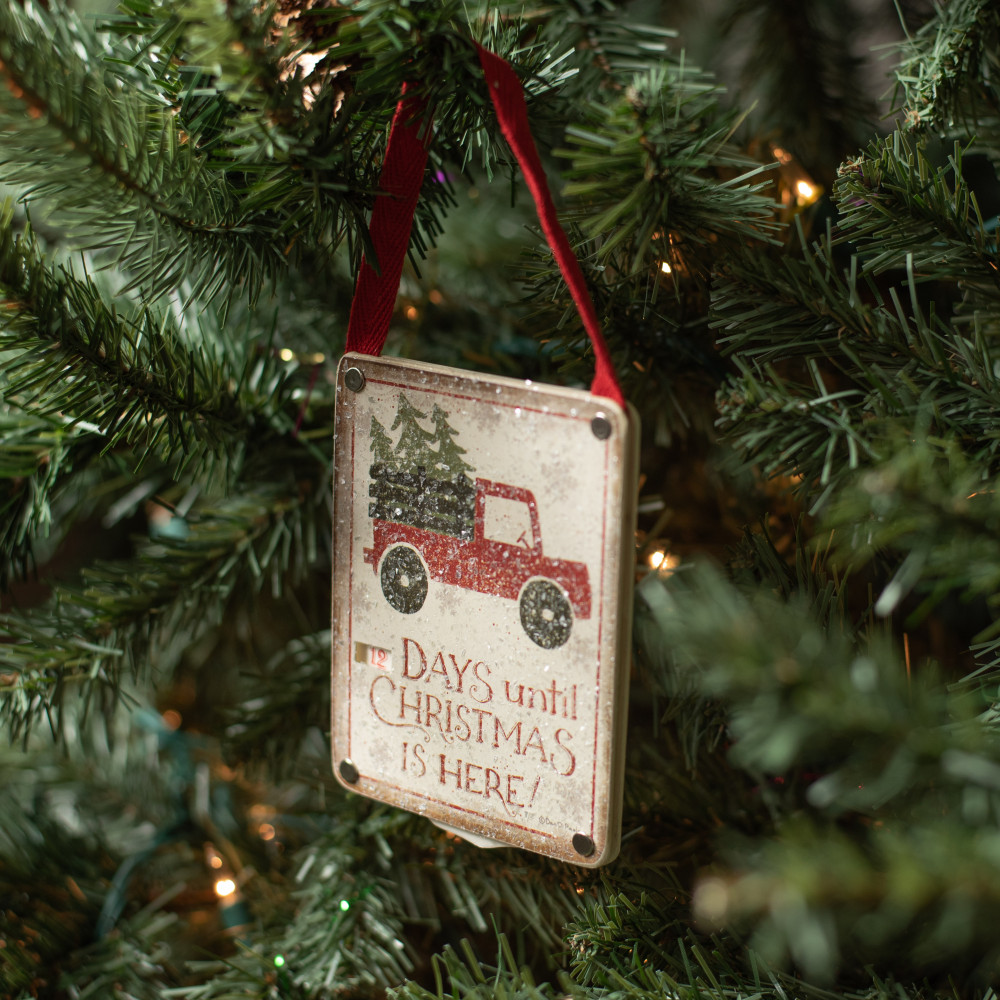 Old Red Truck Christmas Countdown Sign