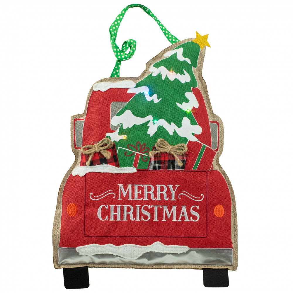 christmas truck lighted door decor