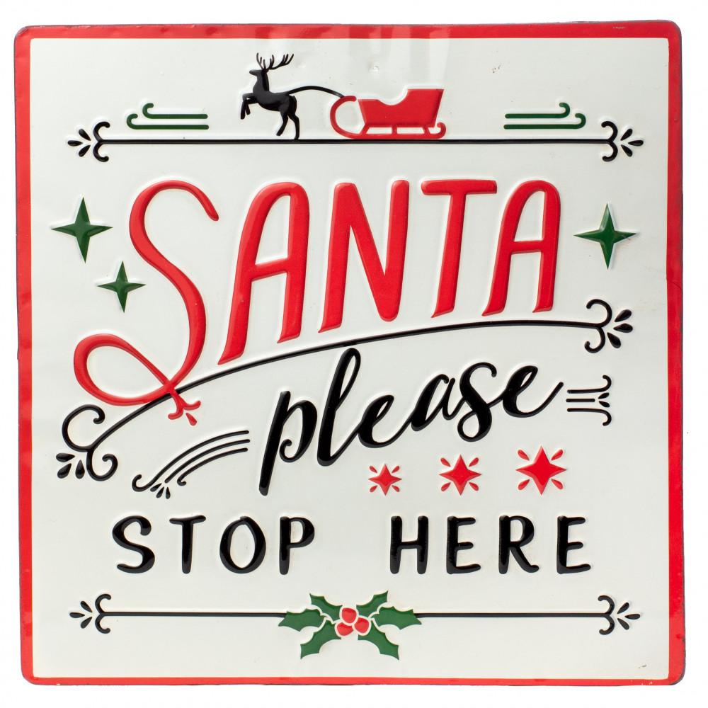 """12"""" Metal Christmas Sign: Santa [3811227]"""