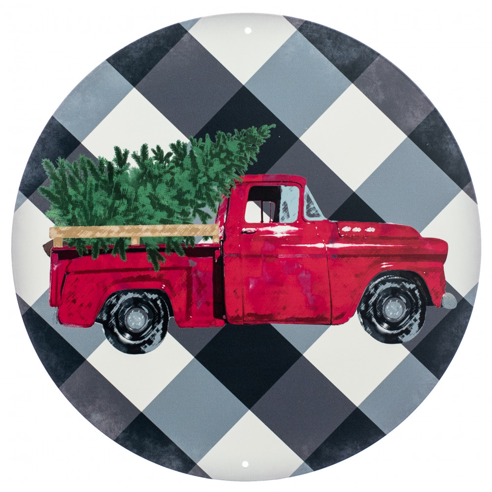 Vintage Red Truck Christmas Placemats.12 Metal Sign Vintage Red Truck On Bold Plaid