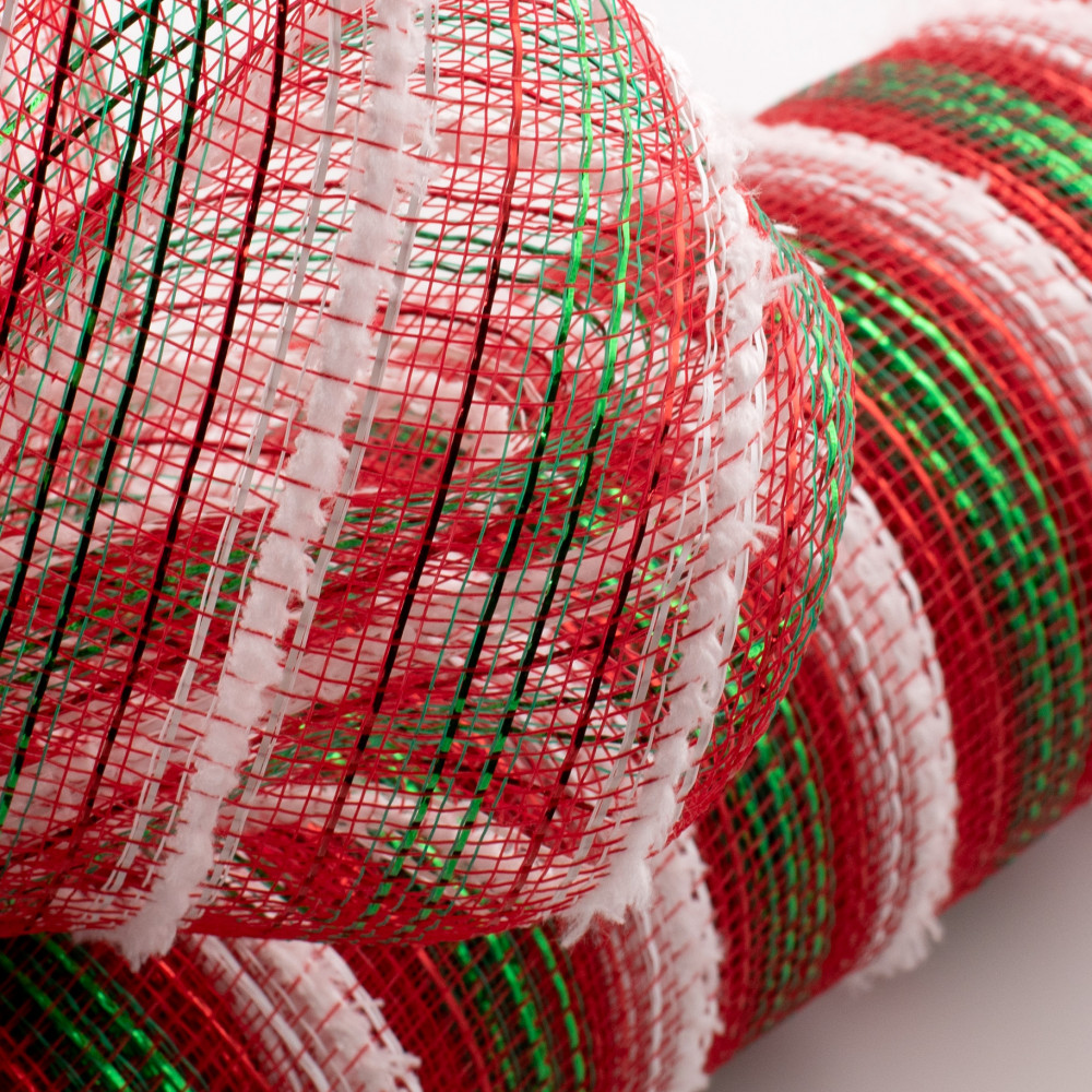 "21"" Christmas Red With Bold Green White Metallic Deco mesh 10 Yards"