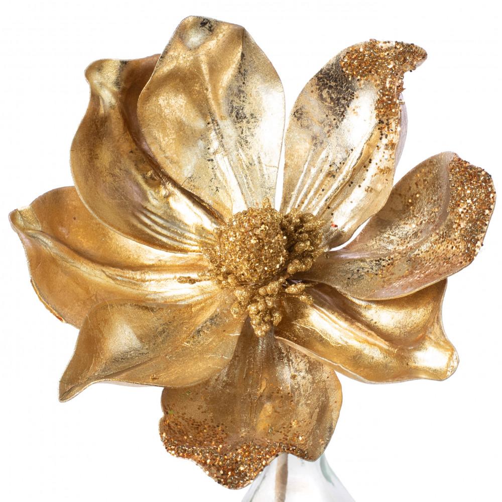 10 Magnolia Flower Pick Gold 83620gd Craftoutletcom