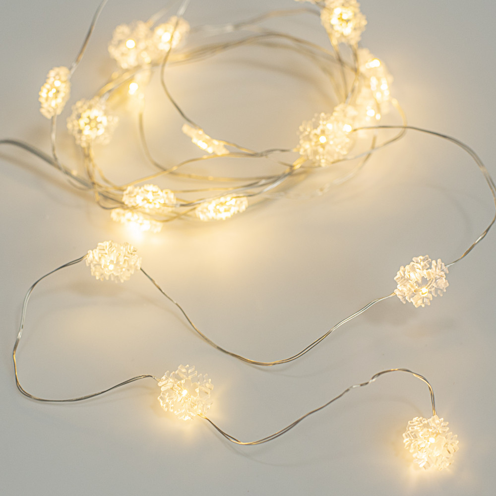 20 Led Snowflake Lights On Wire Warm White