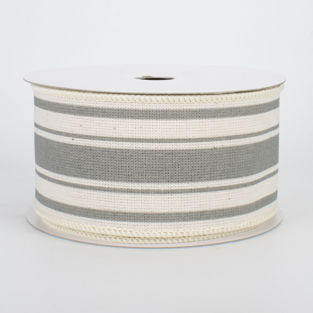 Ivory, Cool Grey Farmhouse Stripe on Cotton Wired Edge Ribbon 2.5 Inches x 10 Yards