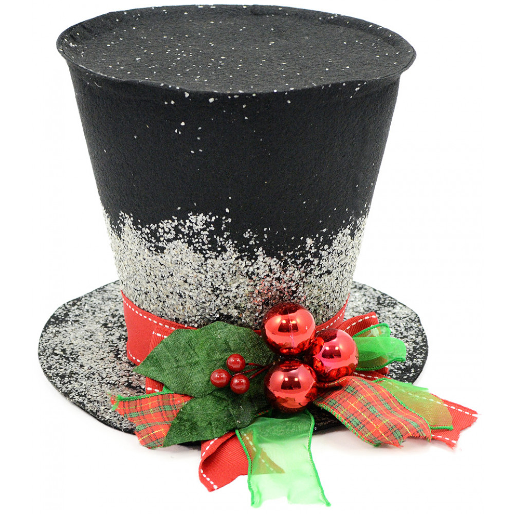 """Black Christmas Holly Top Hat Decoration: 7"""""""