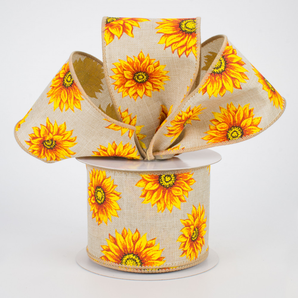 10 Yards 1.5 Sunflower on Canvas Ribbon Green
