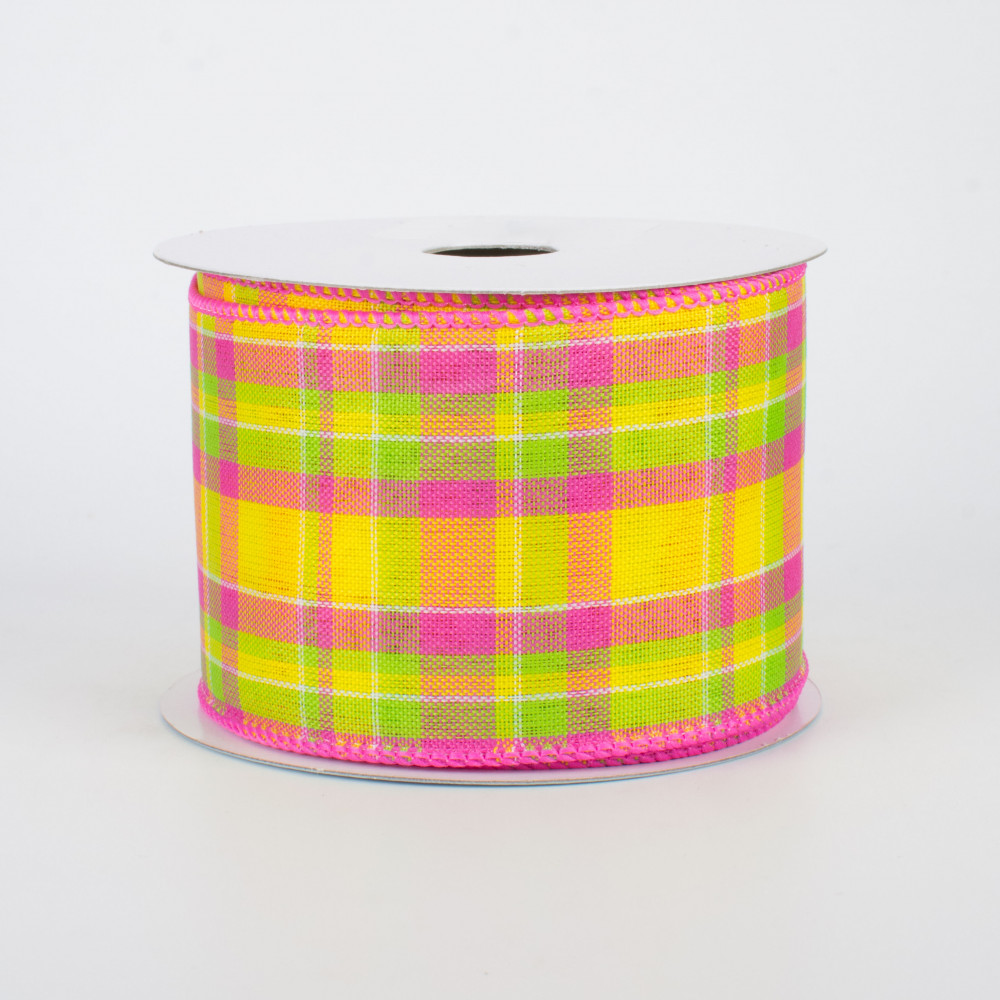 Lime /& Yellow 10 Yards Spring /& Easter 2.5 Wide Expressions Faux Linen Check Wired Ribbon Pink