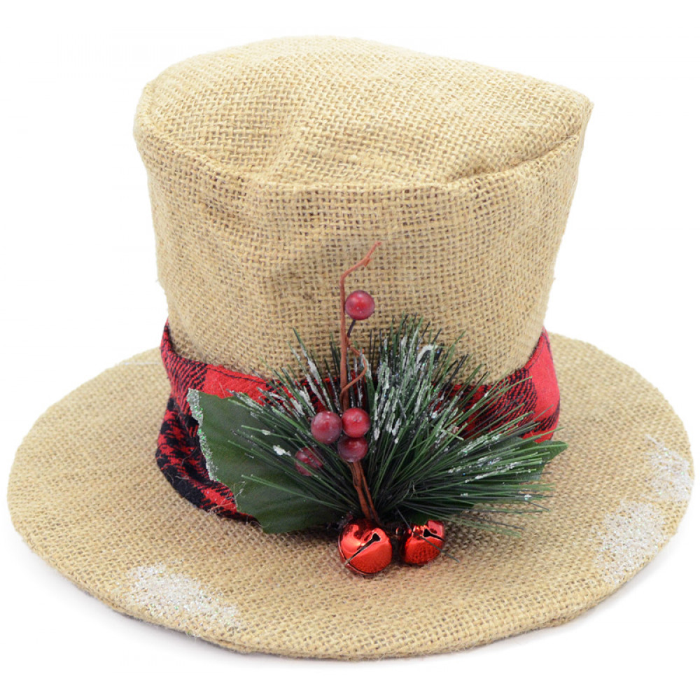 "Burlap Christmas Holly Top Hat Decoration: 6.5"" [3352344 ..."