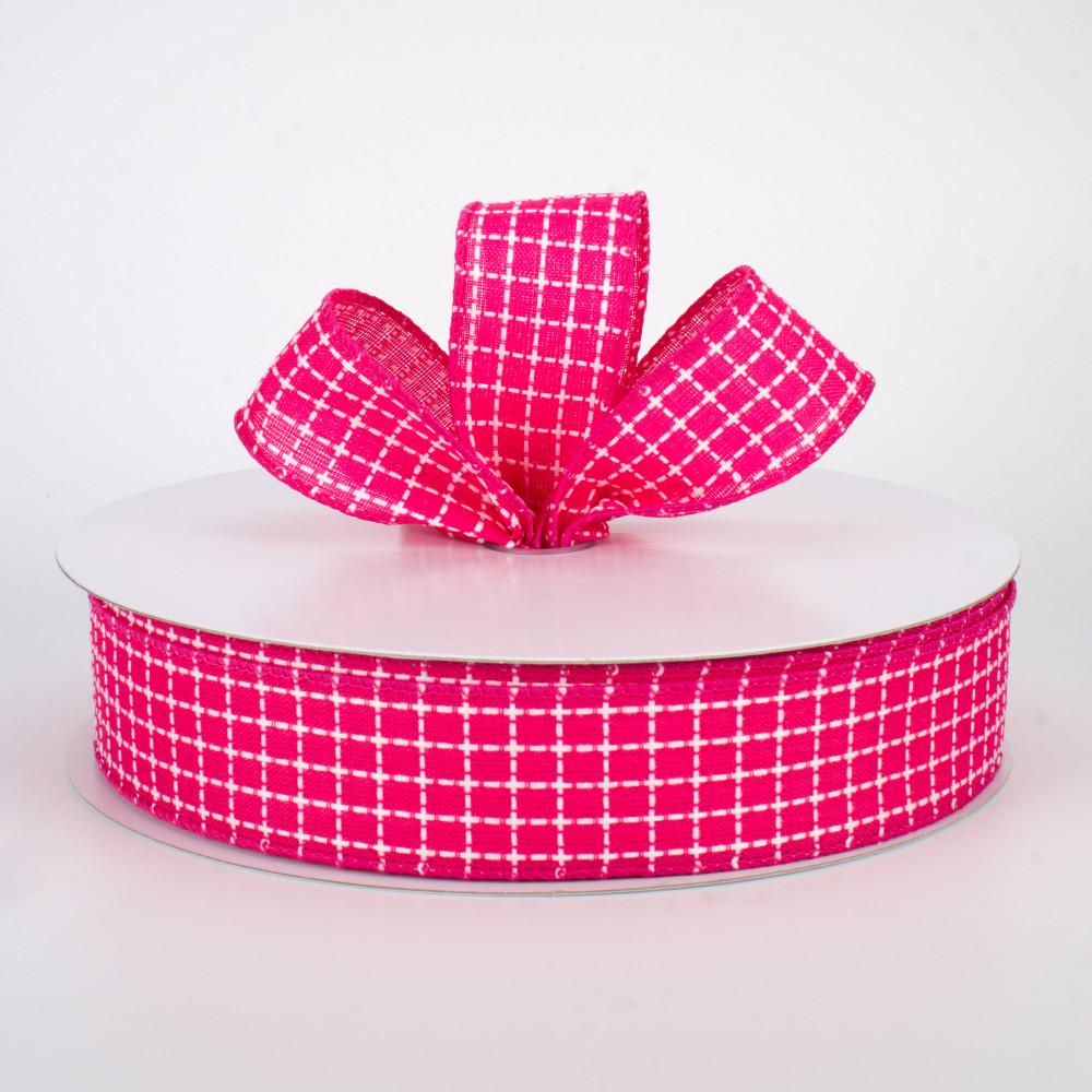 1 Pink Ribbon with Pink Squares 1 Yard