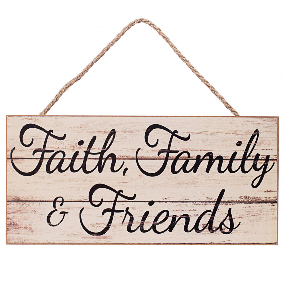 12-Inch Craft Outlet Faith Family Friend Plate Black