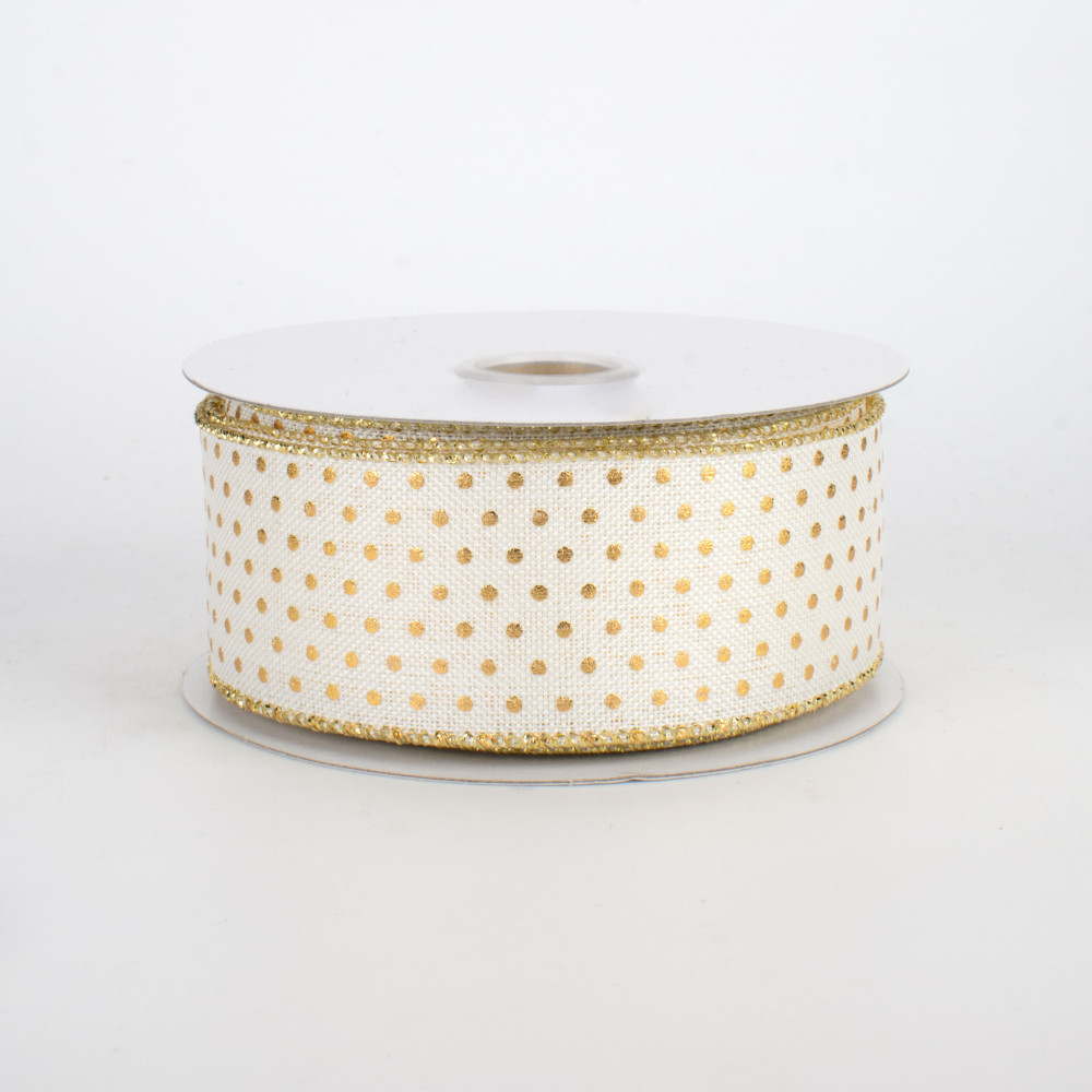 """Pink 1.5/"""" Vintage Floral Swiss Dots Wired Ribbon- Beige Yellow White- 5 Yards"""