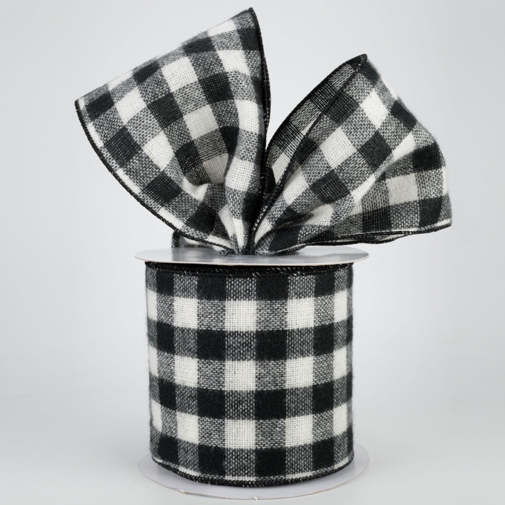 Fuzzy Large Check Plaid Wired Edge Ribbon Black, White 2.5 Inches x 10 Yards