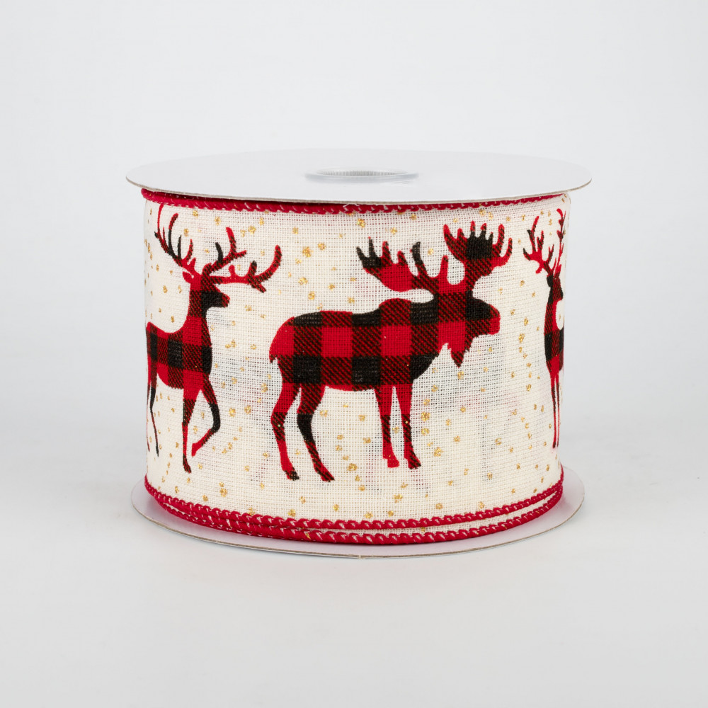Wired Decorative Ribbon Deer Trees Snowflakes Red 2.5 Inch x 10 Yards R1