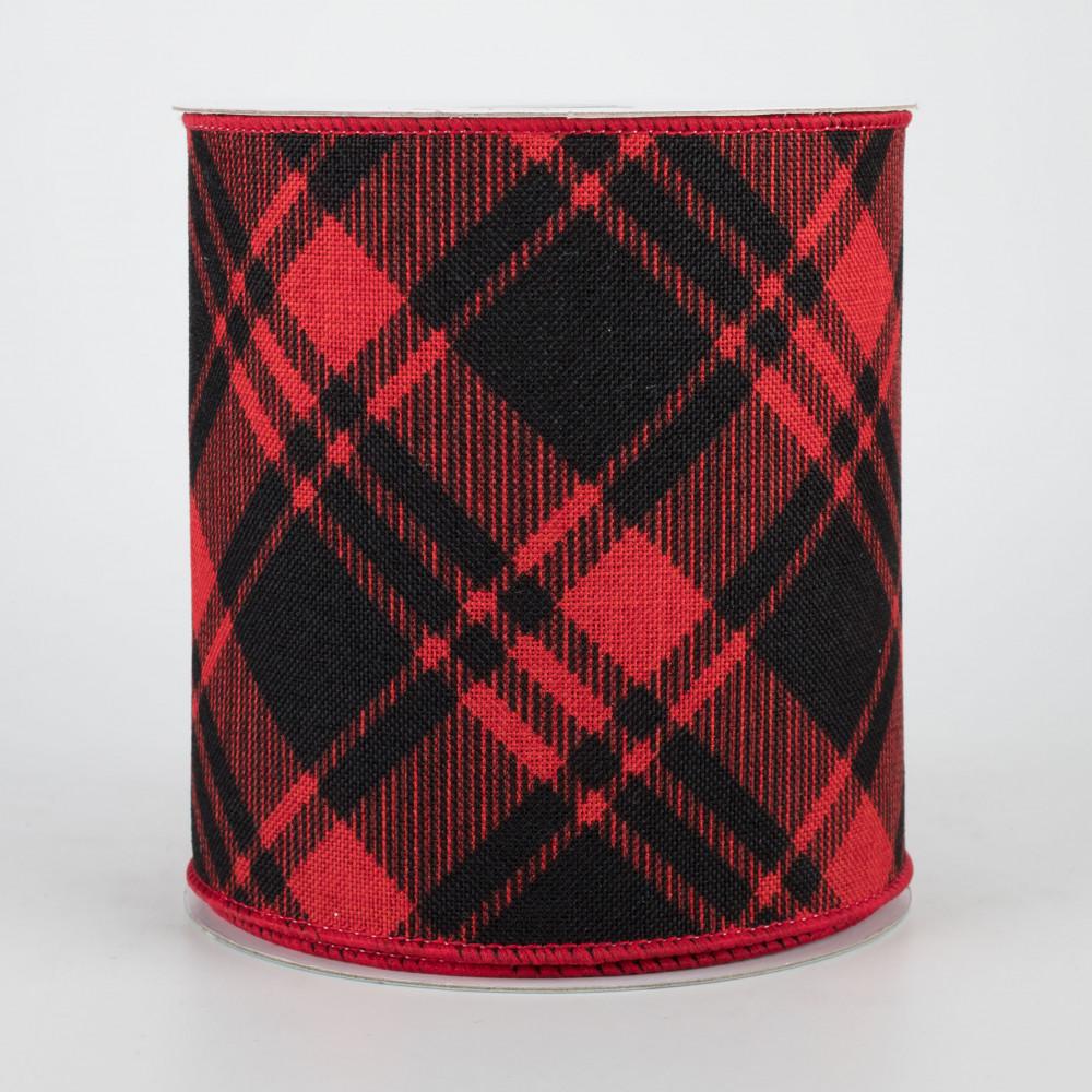 10 Yards 2.5 Diagonal Stripe and Check Ribbon Red