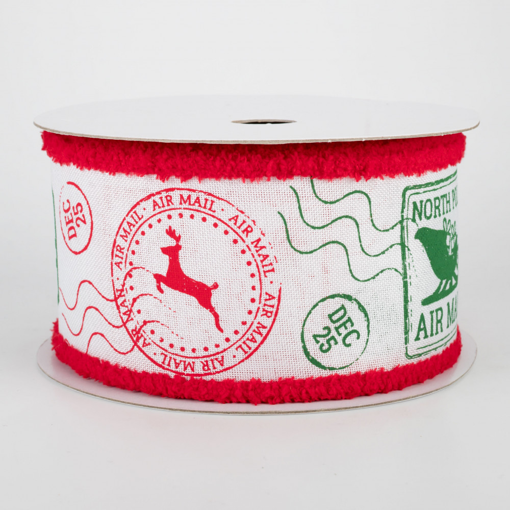 Christmas Stamps.2 5 Chenille Edge Christmas Stamps Ribbon White Red Emerald 10 Yards