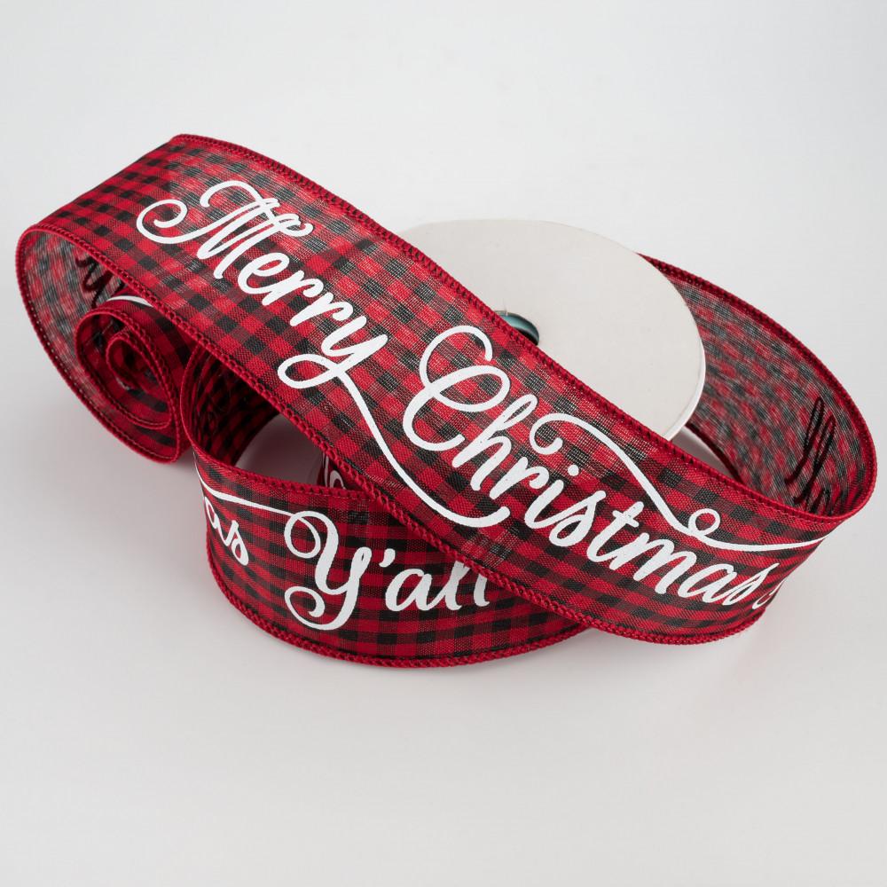 2.5 Red Black Dot Merry Christmas Ribbon