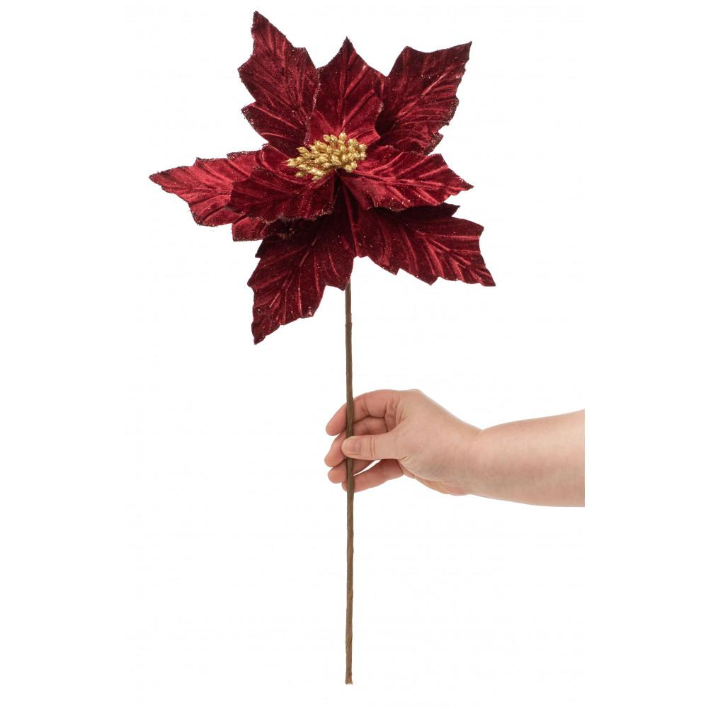 Red Glittered Velvet Poinsettia Bush