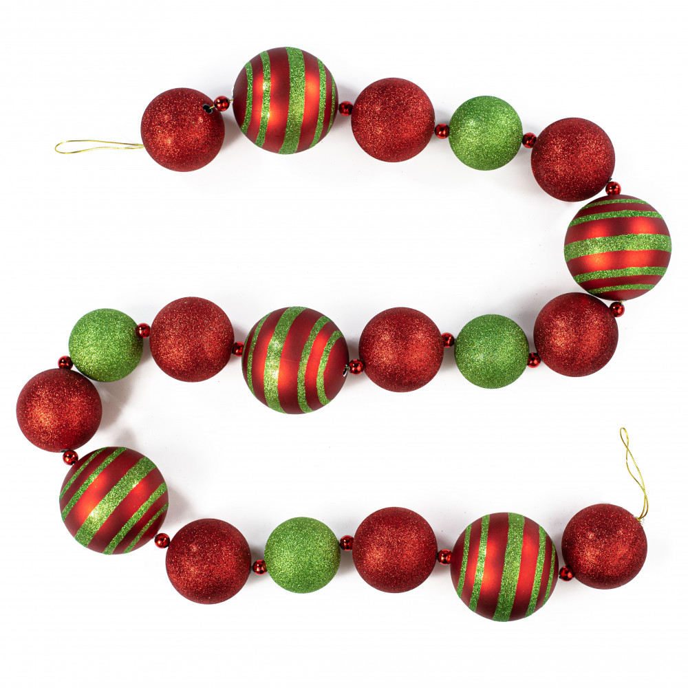 Christmas Ball Garland.6 Glitter Stripe Ball Ornament Garland Red Lime