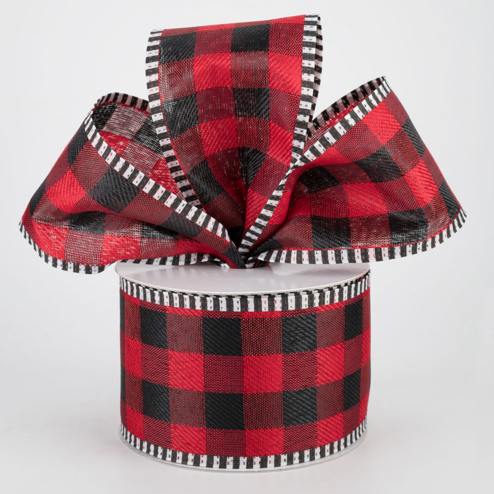 LUTER 236 by 2.5 Inch Red and/Black Plaid/Burlap/Ribbon Buffalo/Plaid/Ribbon Wired Ribbon Wrapping Ribbon/Christmas/Ornaments for Merry Xmas Wedding Festive Home Decorations