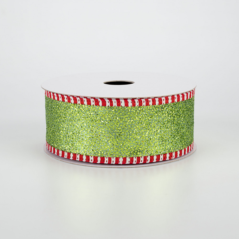 30 Yards Red Shear Ribbon With Red Glitter Stripes Wire Edge 2.5 in x 90 feet