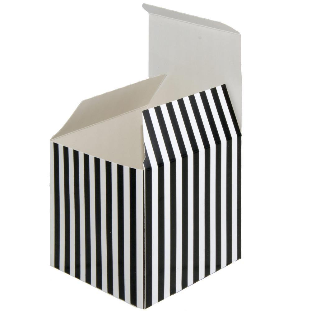 3 Striped Paper Favor Boxes Black White 12 1019 9