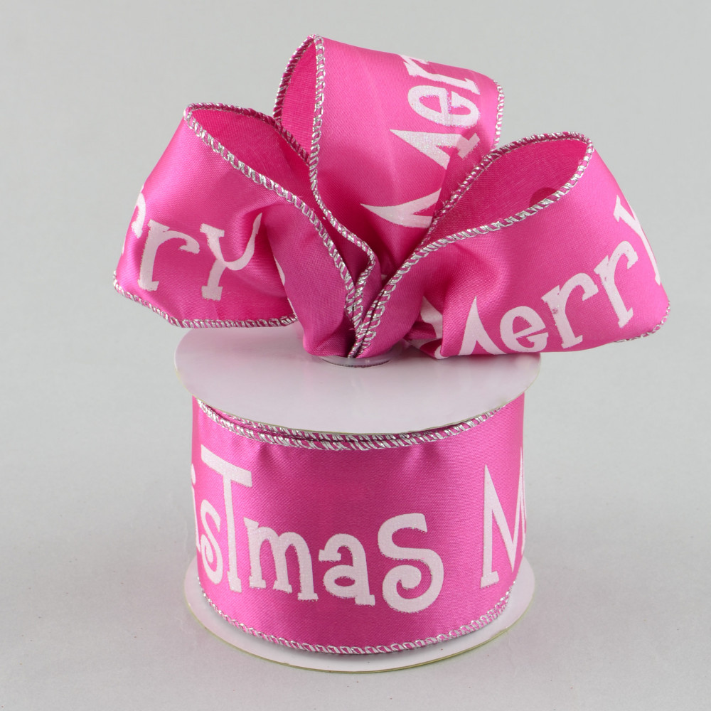 2 5 Quot Merry Christmas Ribbon White On Pink 10 Yards