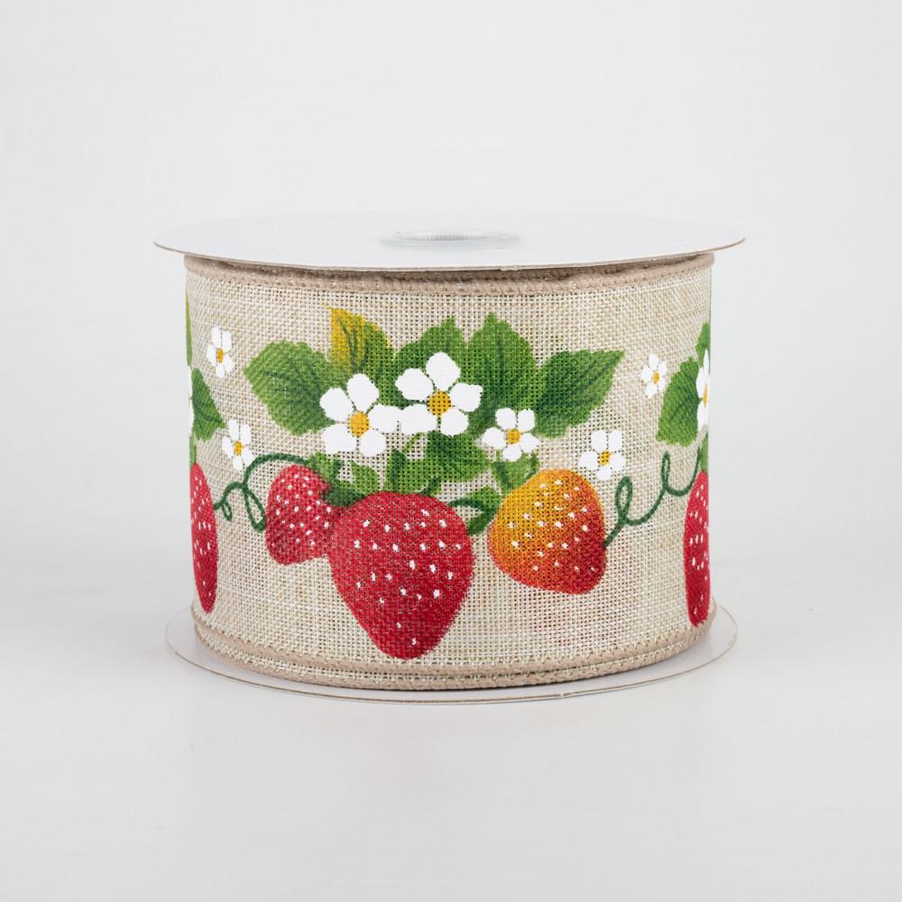 Strawberries and Check Ribbon 2.5 x 10 Yards