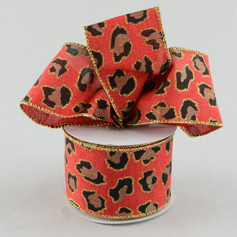 Red 10 Yards 2.5 Leopard Print Ribbon