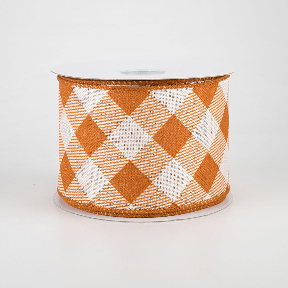 Brown, Ivory, 1.5 10 Yards Diagonal Plaid Check Wired Edge Ribbon