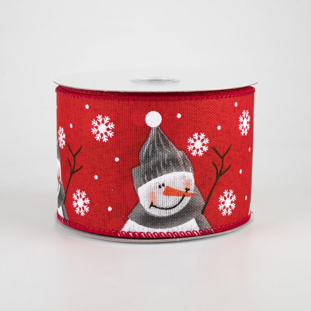 Snowman Red ribbon 2.5 10 yards