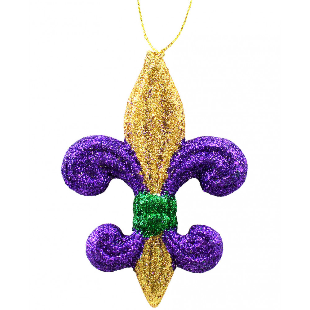 4 pgg glitter fleur de lis ornament mz166352