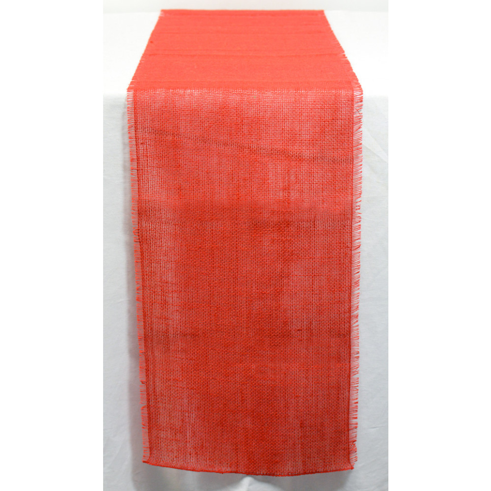 6u0027 Frayed Edge Burlap Fabric Table Runner: Red