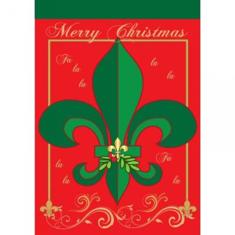 Christmas fleur de lis large flag  craftoutlet